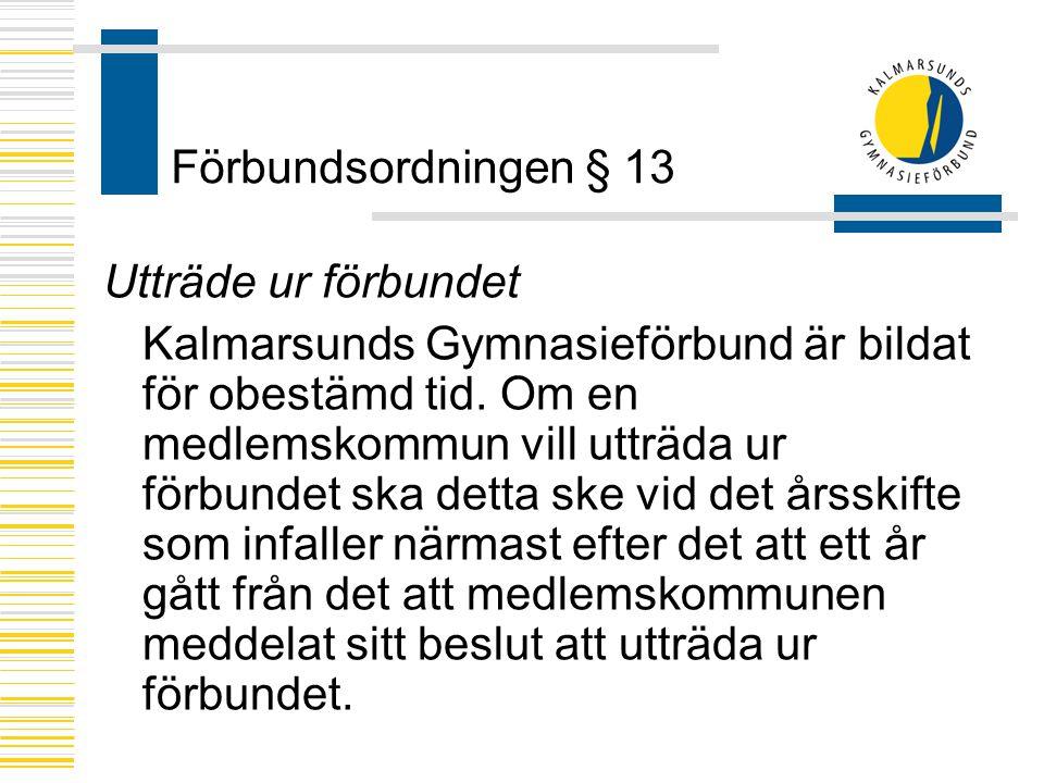 Förbundsordningen § 13 Utträde ur förbundet.