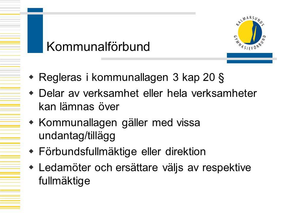 Kommunalförbund Regleras i kommunallagen 3 kap 20 §