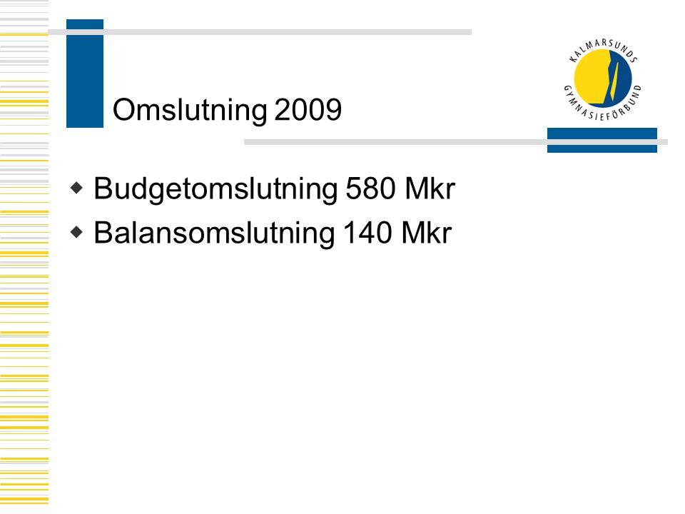 Omslutning 2009 Budgetomslutning 580 Mkr Balansomslutning 140 Mkr
