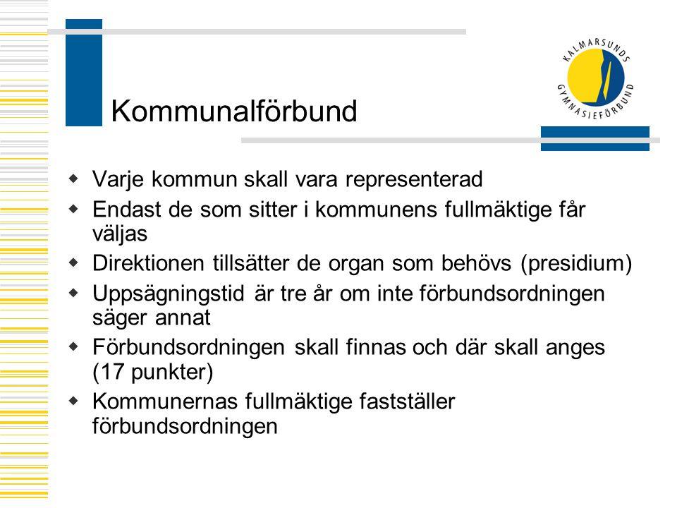 Kommunalförbund Varje kommun skall vara representerad