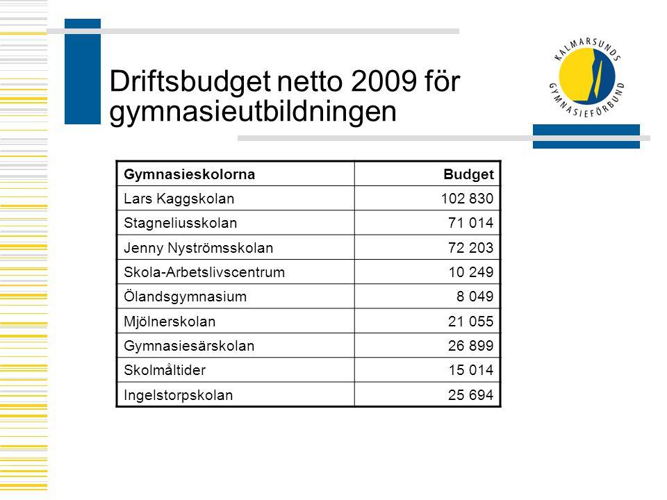 Driftsbudget netto 2009 för gymnasieutbildningen