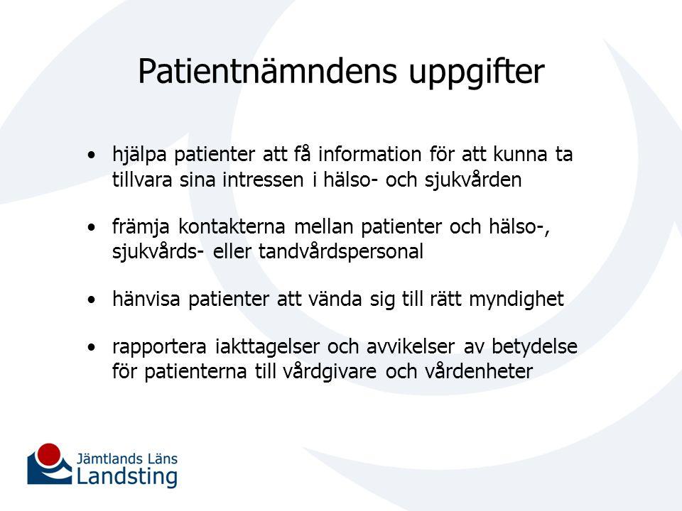 Patientnämndens uppgifter