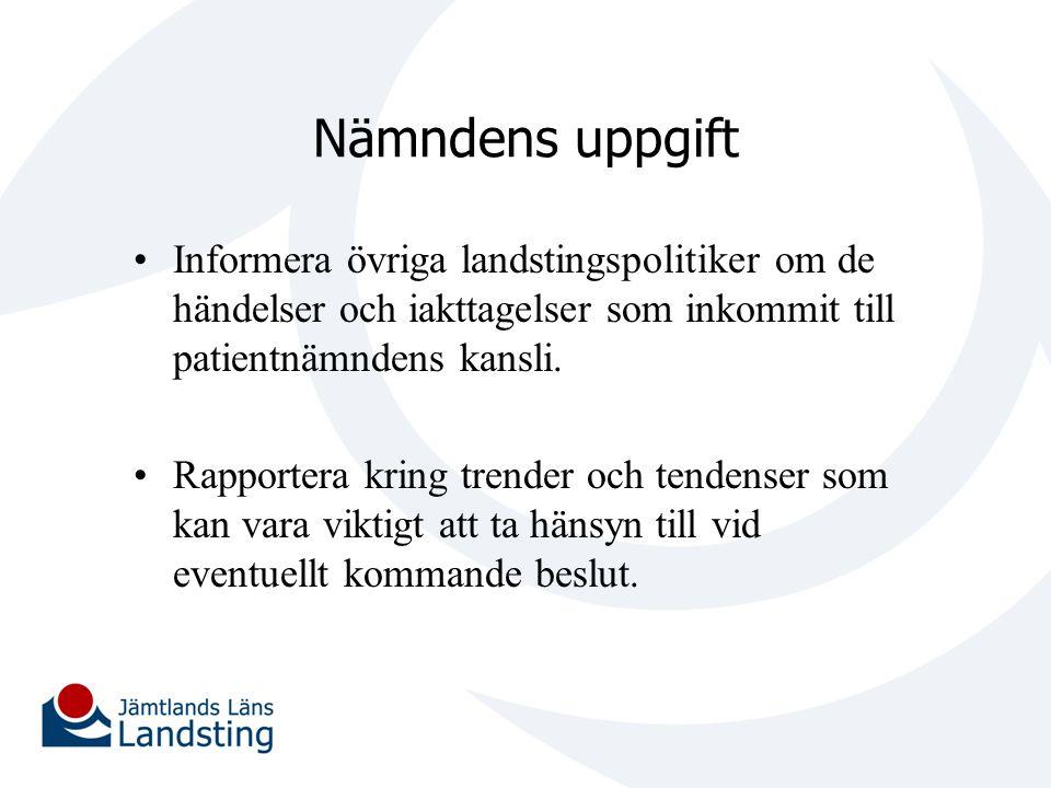Nämndens uppgift Informera övriga landstingspolitiker om de händelser och iakttagelser som inkommit till patientnämndens kansli.