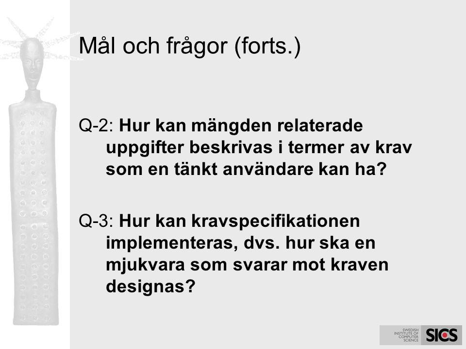 Mål och frågor (forts.) Q-2: Hur kan mängden relaterade uppgifter beskrivas i termer av krav som en tänkt användare kan ha