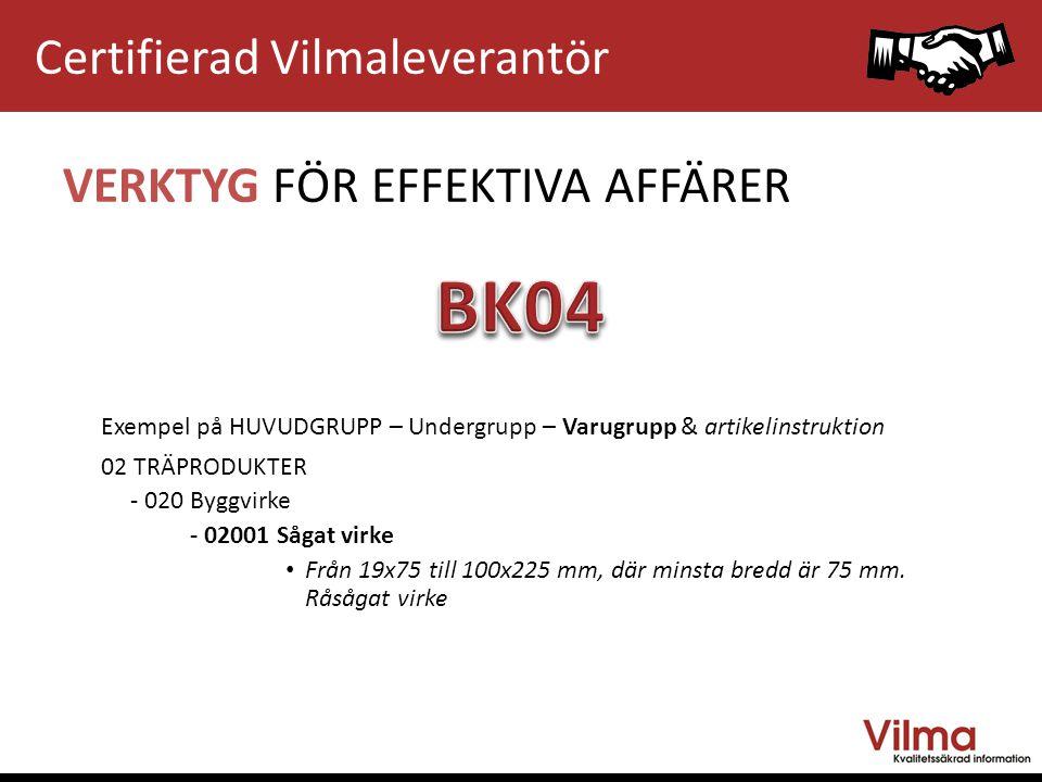 BK04 Certifierad Vilmaleverantör VERKTYG FÖR EFFEKTIVA AFFÄRER