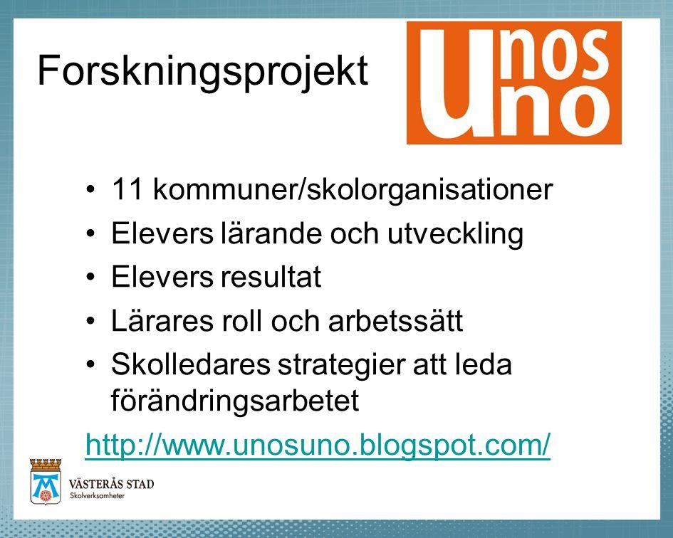 Forskningsprojekt 11 kommuner/skolorganisationer