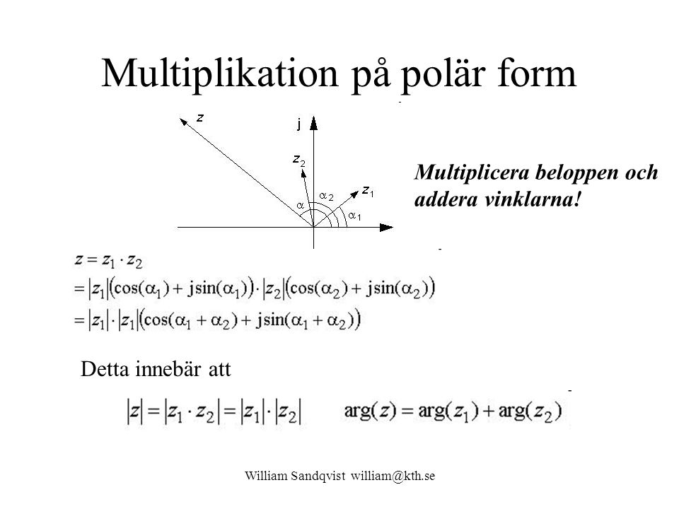 Multiplikation på polär form