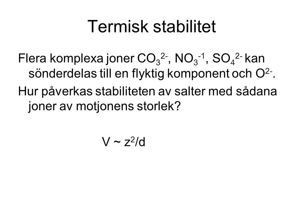 Termisk stabilitet Flera komplexa joner CO32-, NO3-1, SO42- kan sönderdelas till en flyktig komponent och O2-.