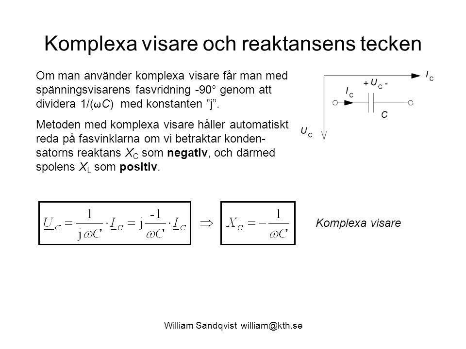 Komplexa visare och reaktansens tecken