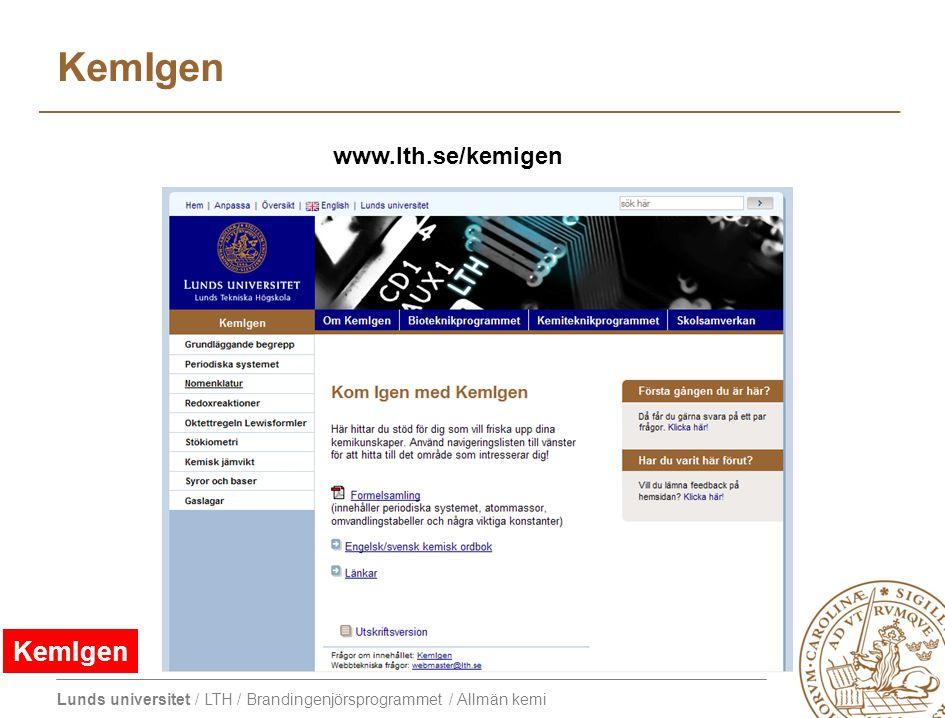 KemIgen www.lth.se/kemigen KemIgen
