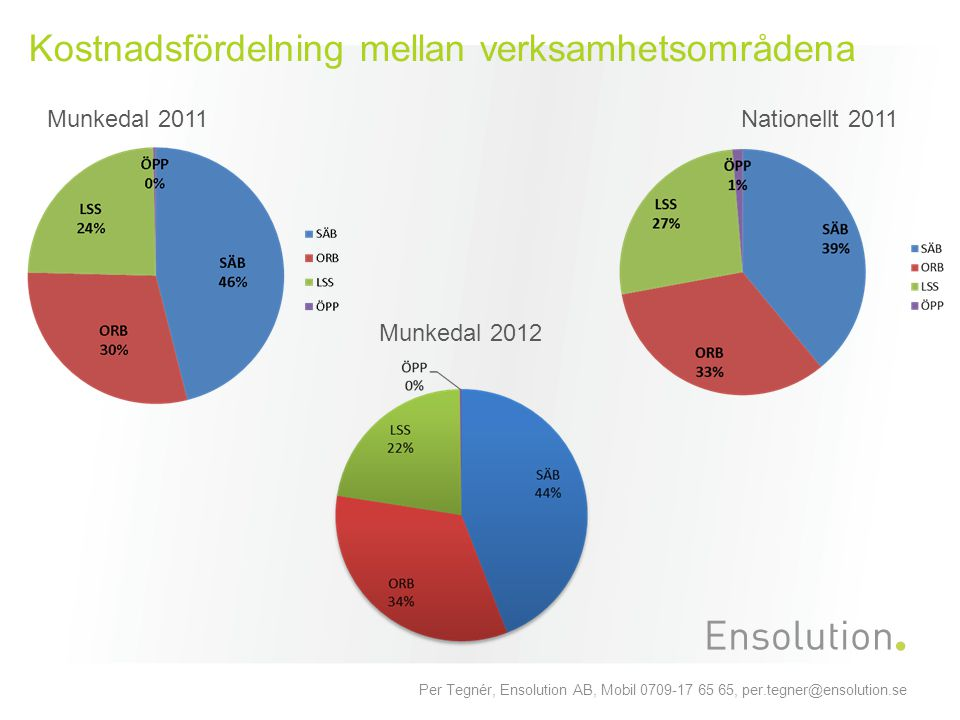 Kostnadsfördelning mellan verksamhetsområdena