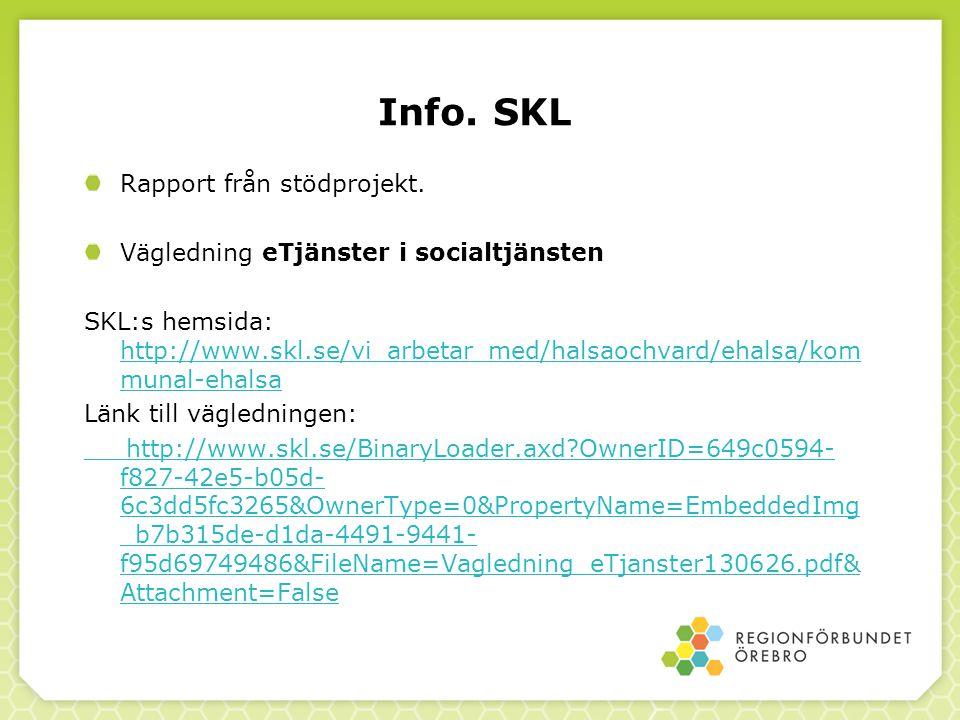 Info. SKL Rapport från stödprojekt.