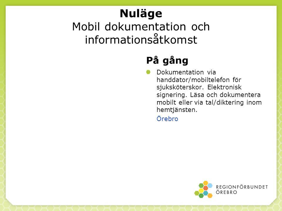 Nuläge Mobil dokumentation och informationsåtkomst