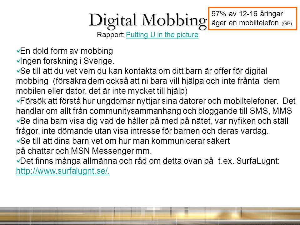 Digital Mobbing Rapport: Putting U in the picture