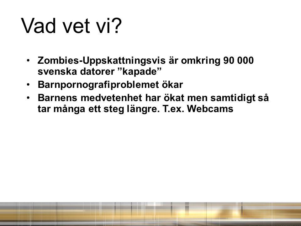 Vad vet vi Zombies-Uppskattningsvis är omkring 90 000 svenska datorer kapade Barnpornografiproblemet ökar.