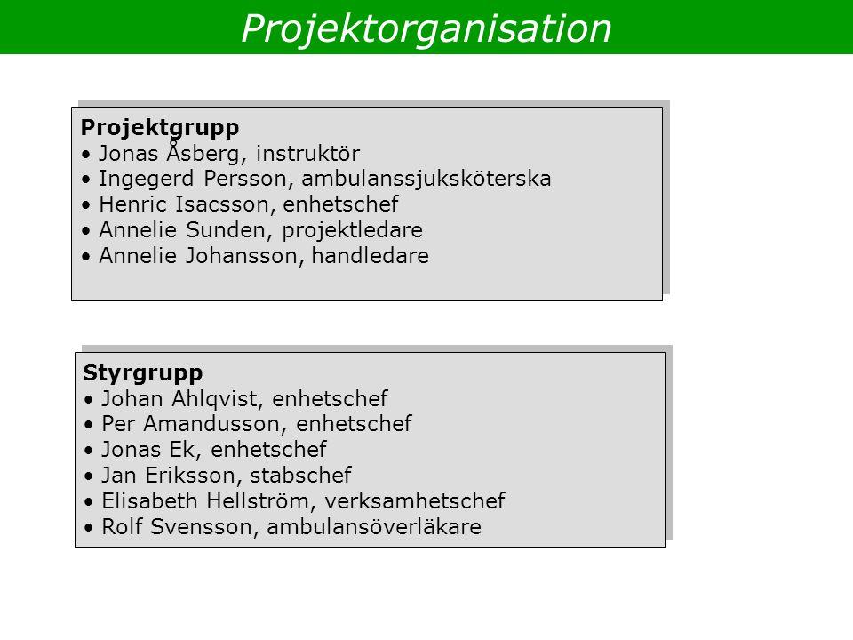 Projektorganisation Projektgrupp Jonas Åsberg, instruktör