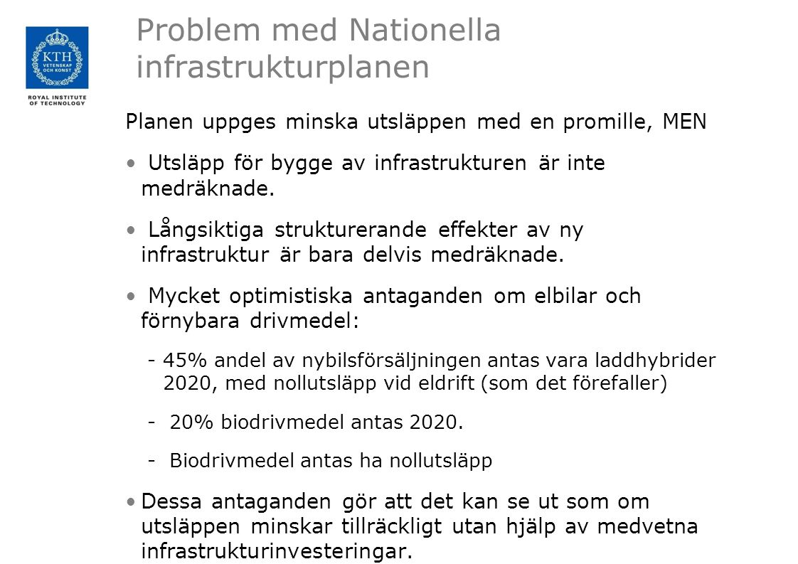 Problem med Nationella infrastrukturplanen
