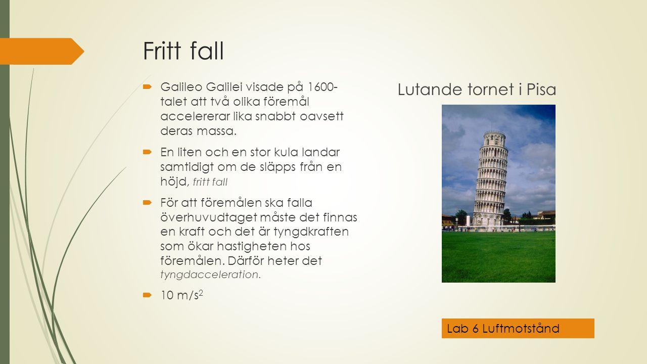 Fritt fall Lutande tornet i Pisa