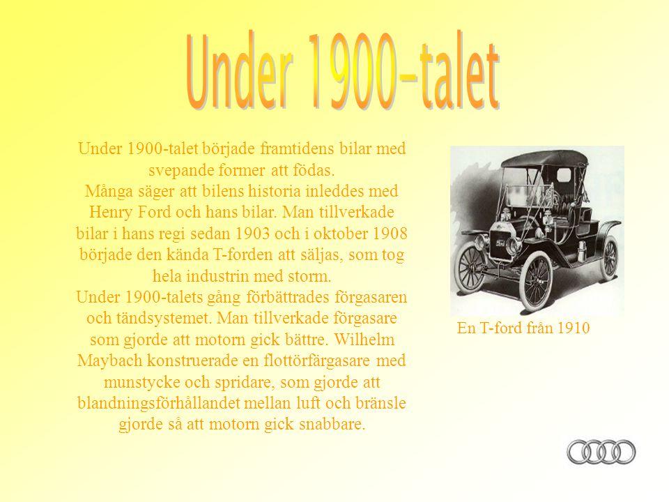 Under 1900-talet Under 1900-talet började framtidens bilar med svepande former att födas.