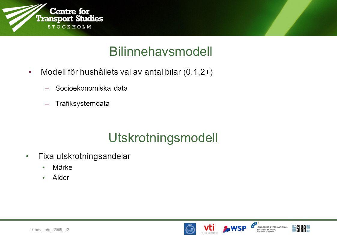 Bilinnehavsmodell Utskrotningsmodell