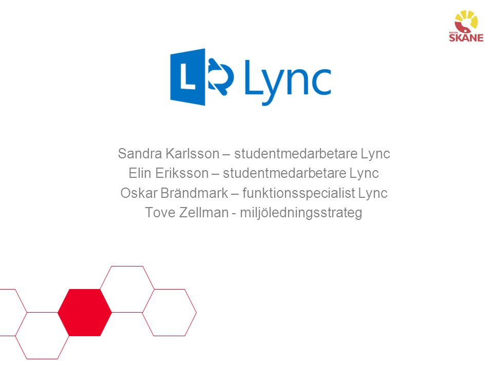 Sandra Karlsson – studentmedarbetare Lync Elin Eriksson – studentmedarbetare Lync Oskar Brändmark – funktionsspecialist Lync Tove Zellman - miljöledningsstrateg
