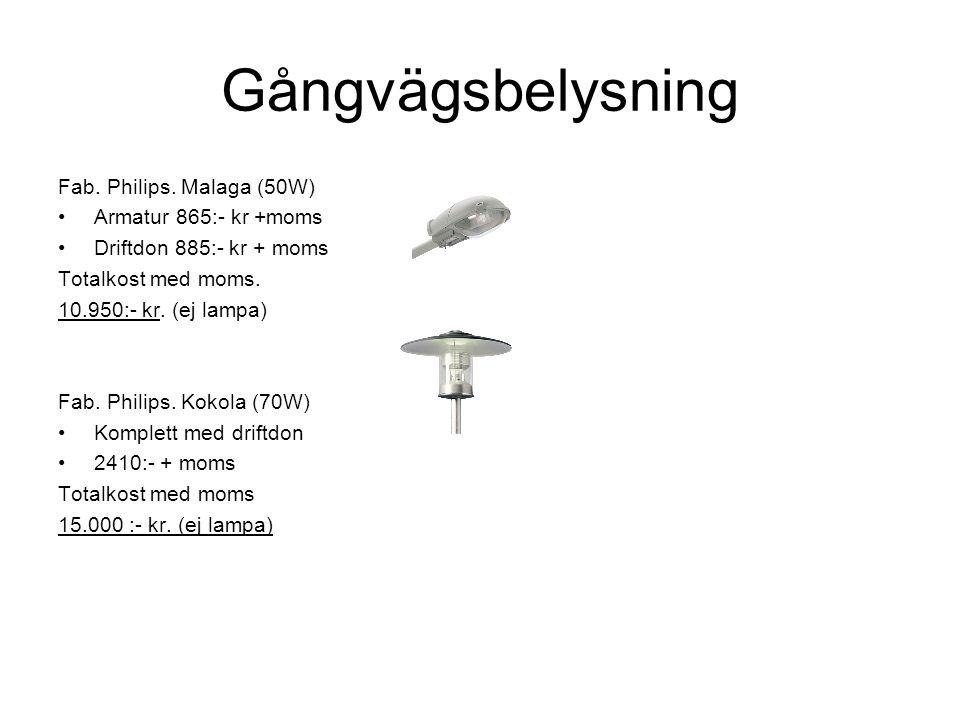 Gångvägsbelysning Fab. Philips. Malaga (50W) Armatur 865:- kr +moms