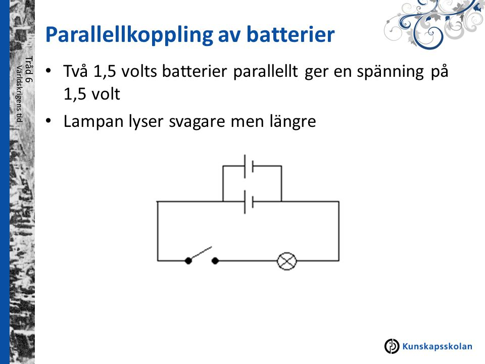 Parallellkoppling av batterier