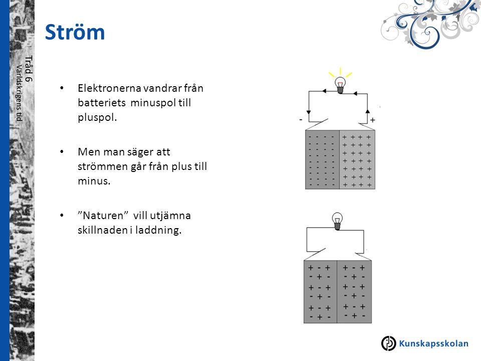 Ström Elektronerna vandrar från batteriets minuspol till pluspol.
