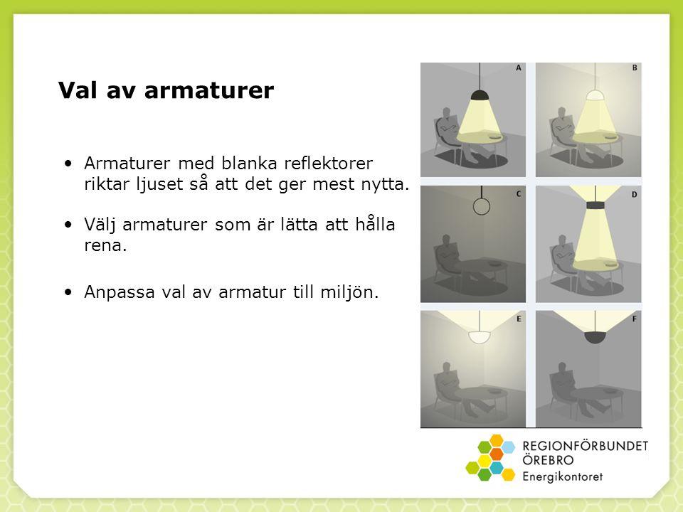 Val av armaturer Armaturer med blanka reflektorer riktar ljuset så att det ger mest nytta. Välj armaturer som är lätta att hålla rena.