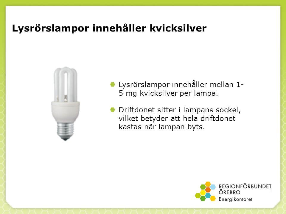 Lysrörslampor innehåller kvicksilver