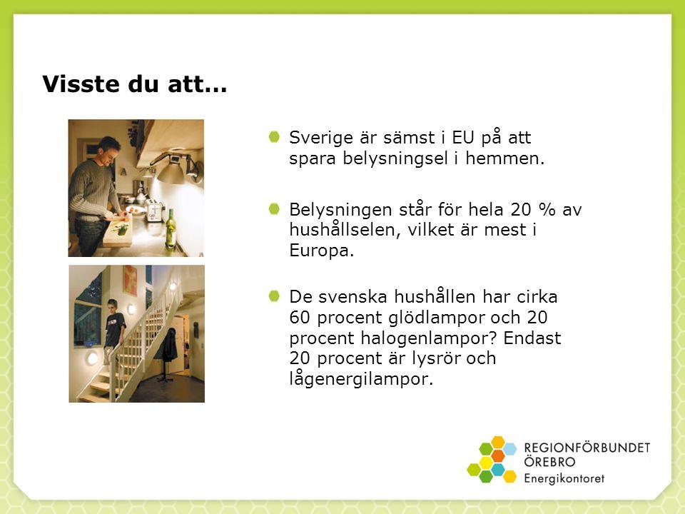 Visste du att… Sverige är sämst i EU på att spara belysningsel i hemmen. Belysningen står för hela 20 % av hushållselen, vilket är mest i Europa.