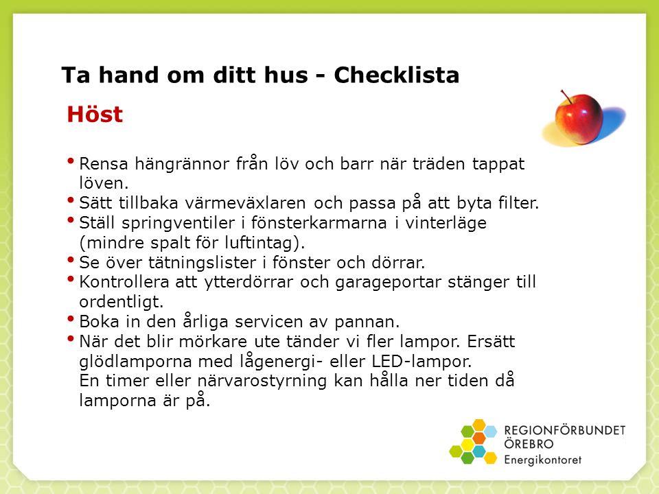 Ta hand om ditt hus - Checklista