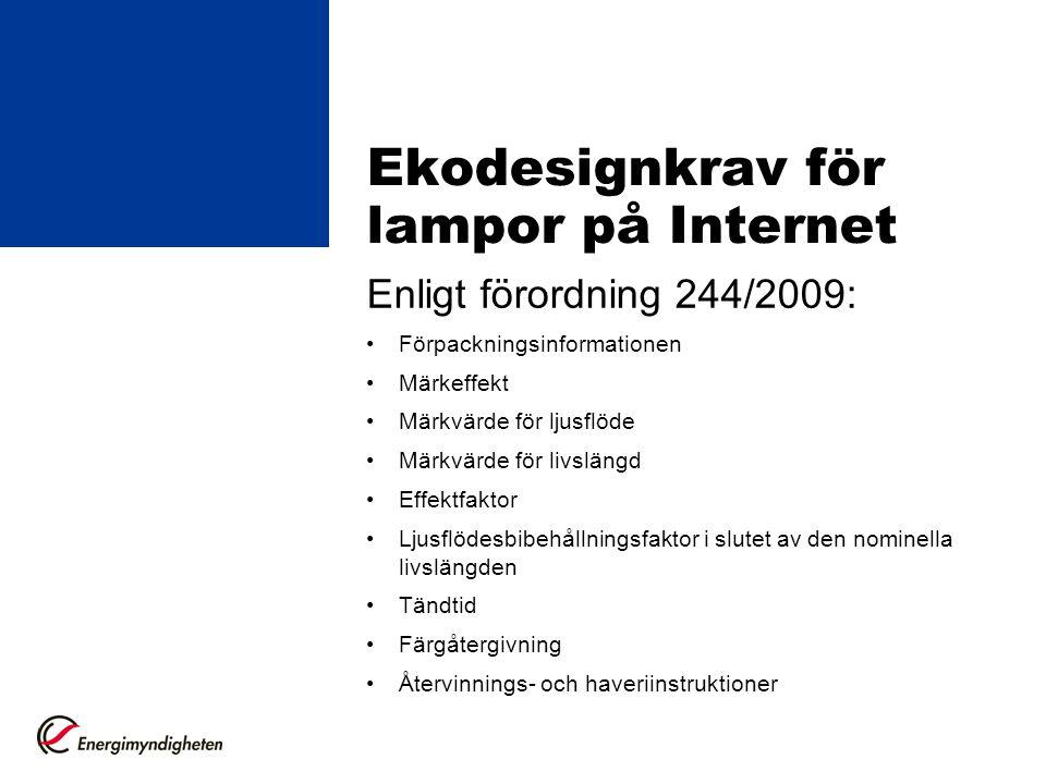 Ekodesignkrav för lampor på Internet