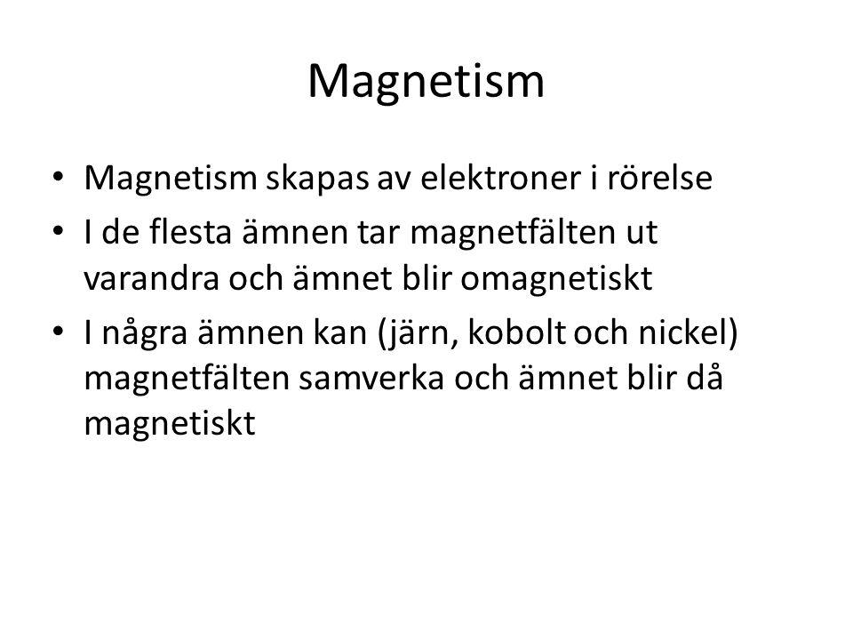 Magnetism Magnetism skapas av elektroner i rörelse