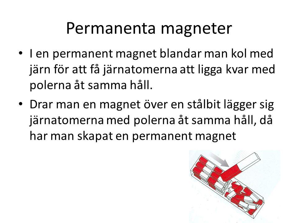 Permanenta magneter I en permanent magnet blandar man kol med järn för att få järnatomerna att ligga kvar med polerna åt samma håll.
