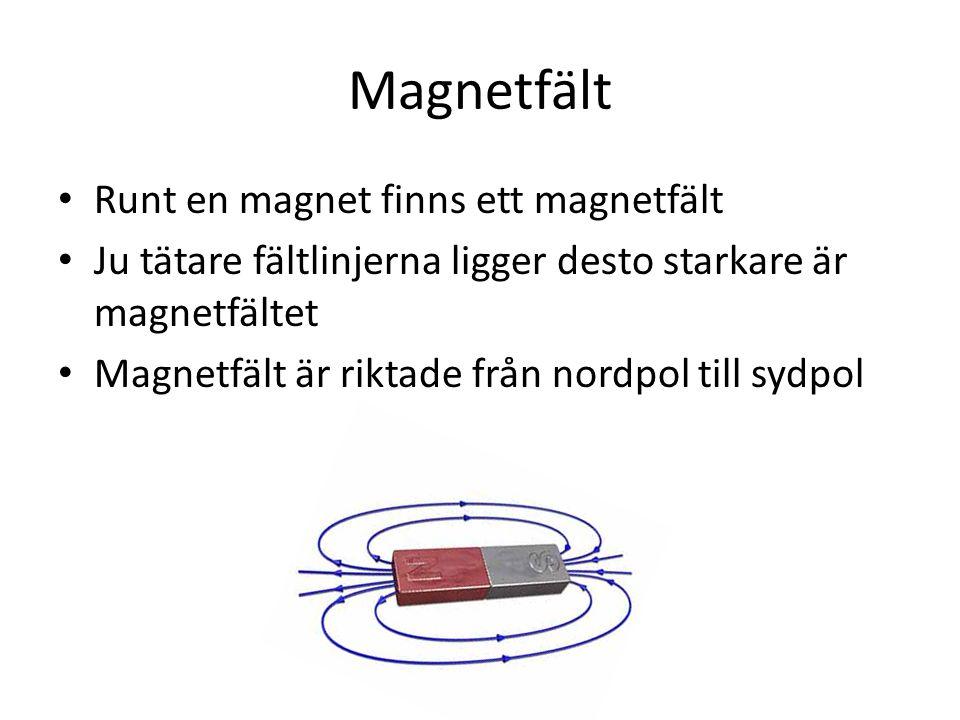 Magnetfält Runt en magnet finns ett magnetfält