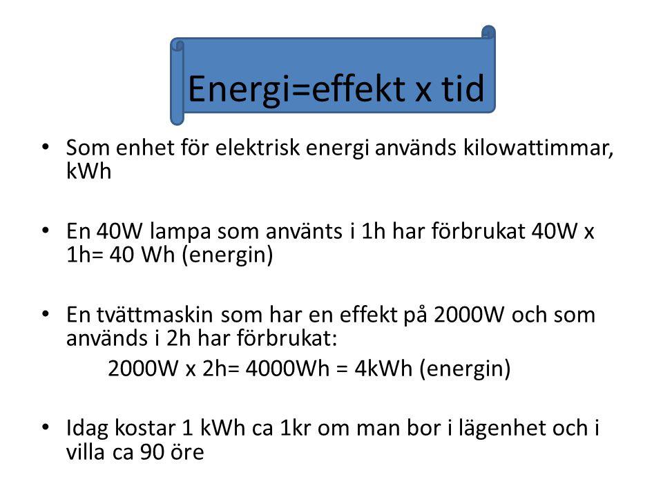 Energi=effekt x tid Som enhet för elektrisk energi används kilowattimmar, kWh. En 40W lampa som använts i 1h har förbrukat 40W x 1h= 40 Wh (energin)