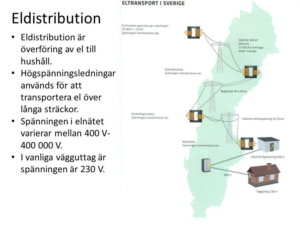 Eldistribution Eldistribution är överföring av el till hushåll.