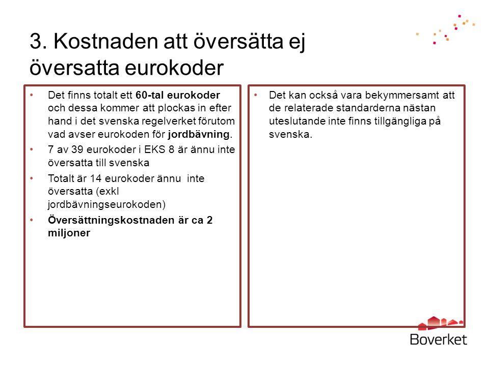 3. Kostnaden att översätta ej översatta eurokoder