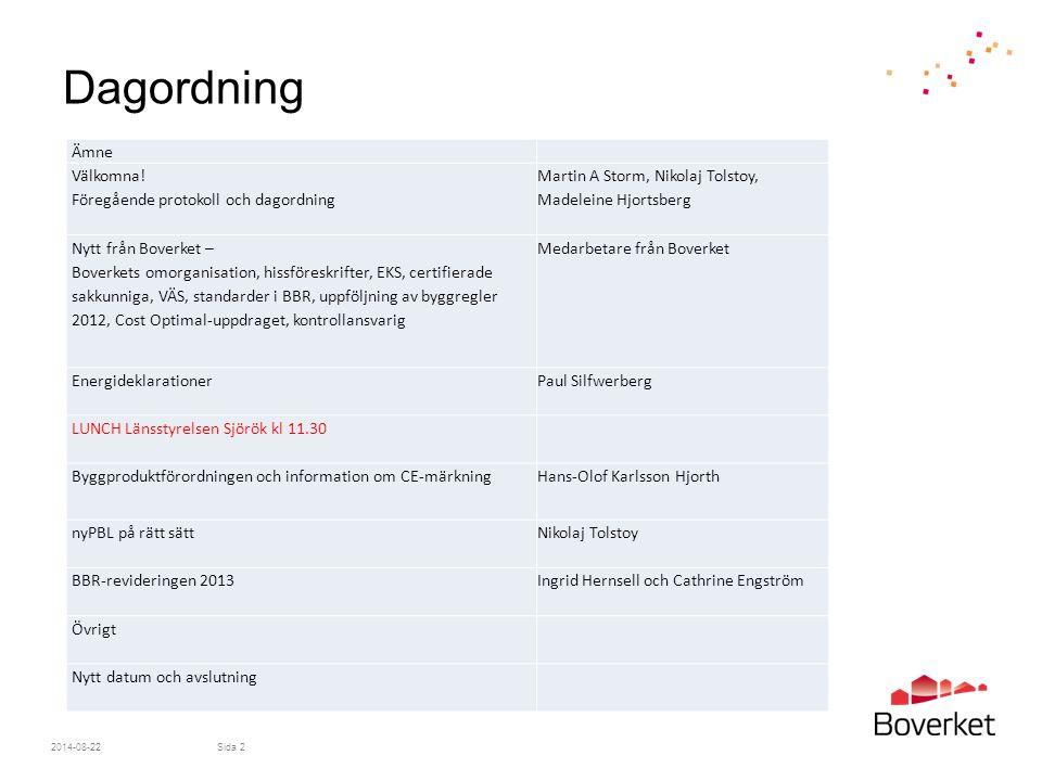 Dagordning Ämne Välkomna! Föregående protokoll och dagordning
