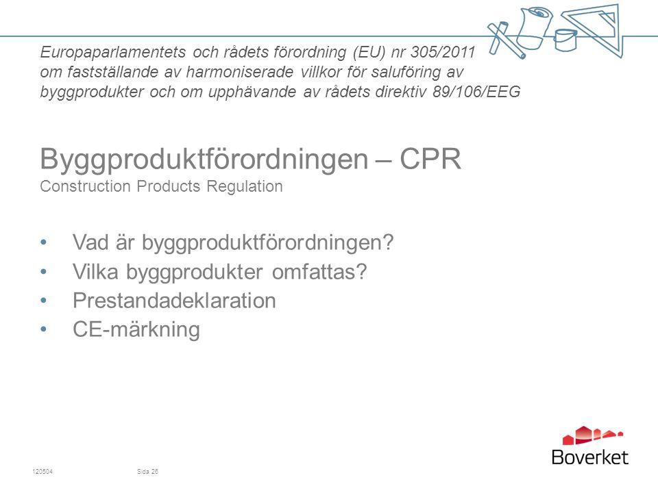 Byggproduktförordningen – CPR Construction Products Regulation