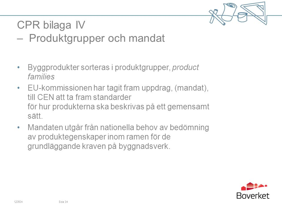 CPR bilaga IV – Produktgrupper och mandat