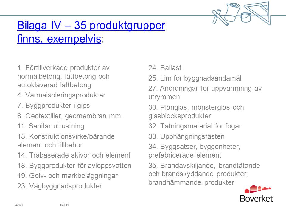 Bilaga IV – 35 produktgrupper finns, exempelvis: