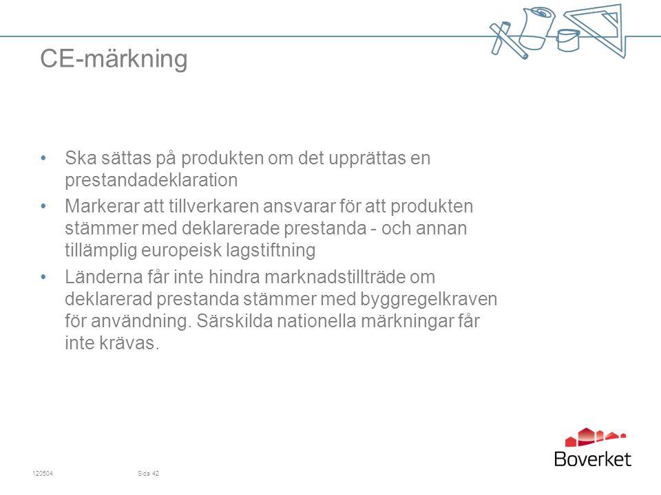 CE-märkning Ska sättas på produkten om det upprättas en prestandadeklaration.