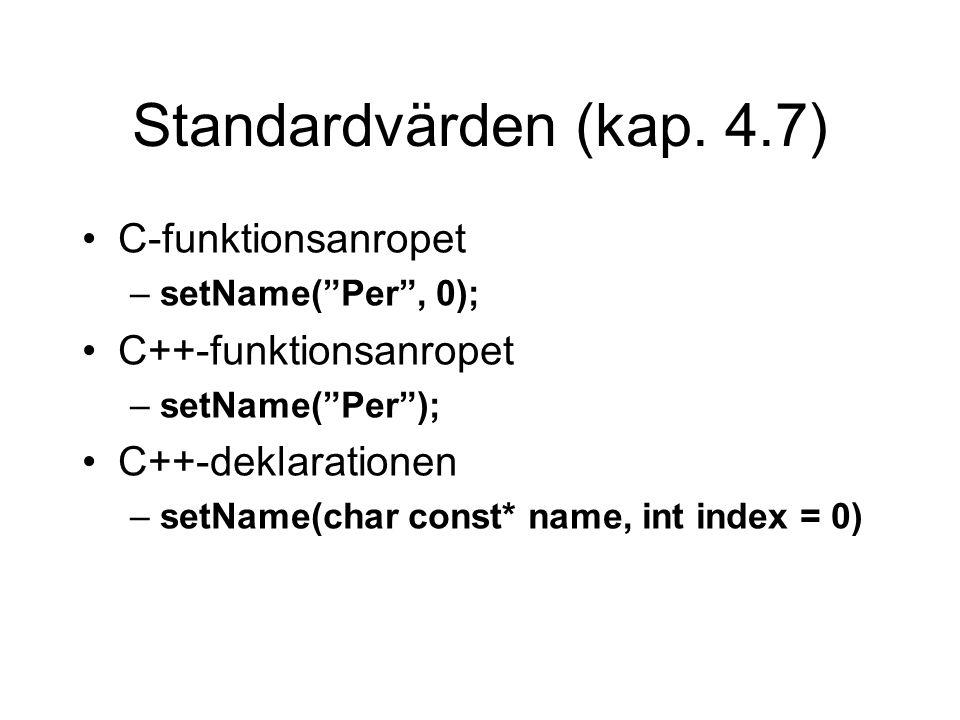 Standardvärden (kap. 4.7) C-funktionsanropet C++-funktionsanropet