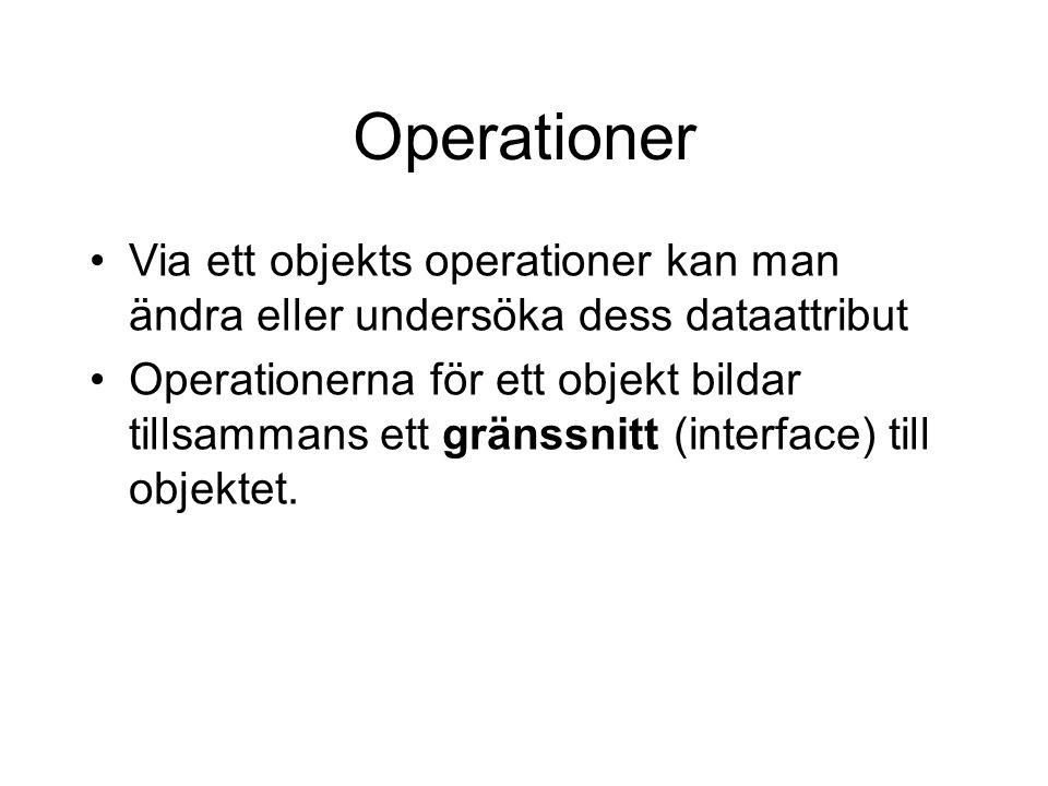 Operationer Via ett objekts operationer kan man ändra eller undersöka dess dataattribut.