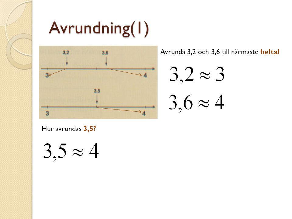 Avrundning(1) Avrunda 3,2 och 3,6 till närmaste heltal