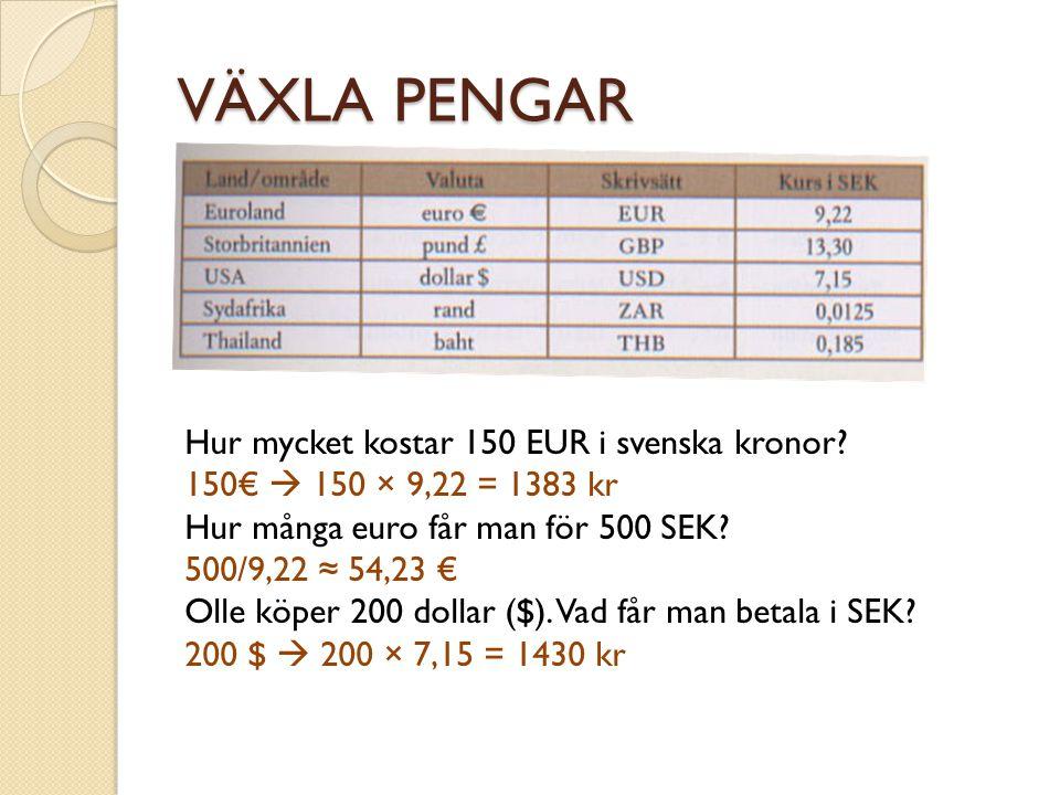 VÄXLA PENGAR Hur mycket kostar 150 EUR i svenska kronor