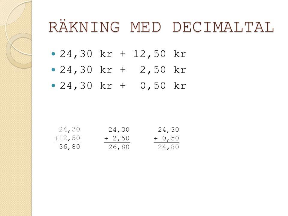 RÄKNING MED DECIMALTAL