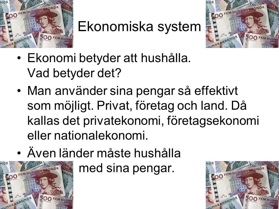 Ekonomiska system Ekonomi betyder att hushålla. Vad betyder det